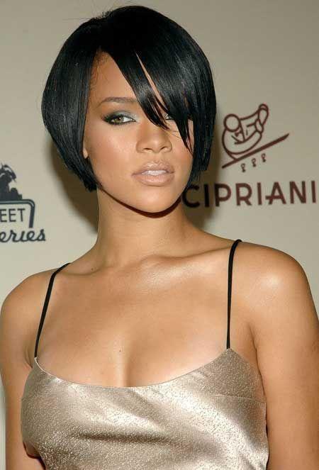 Rihanna short sleek bob
