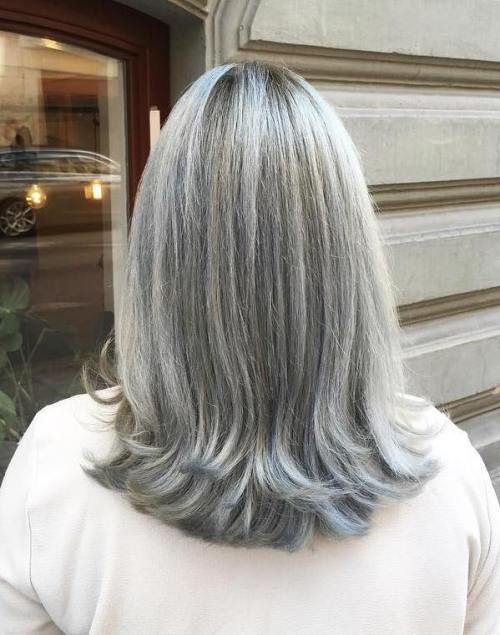 Medium Gray Hairstyle For Straight Hair