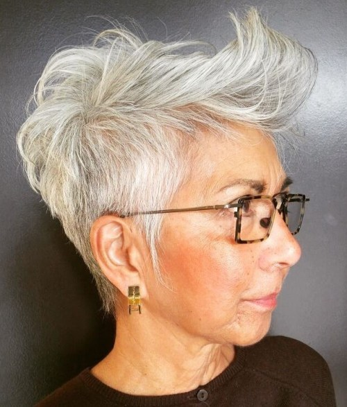 Tapered Gray Pixie Over 50