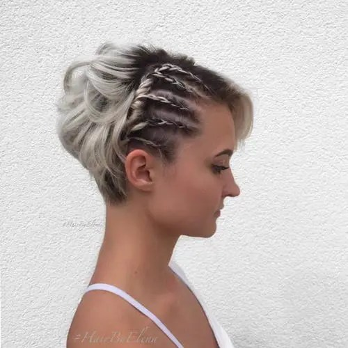 short bob hairstyle with asymmetrical side braids