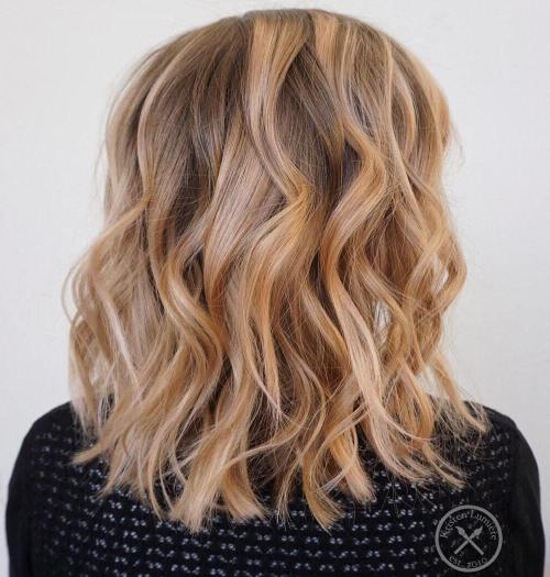 Brown Blonde Balayage Lob