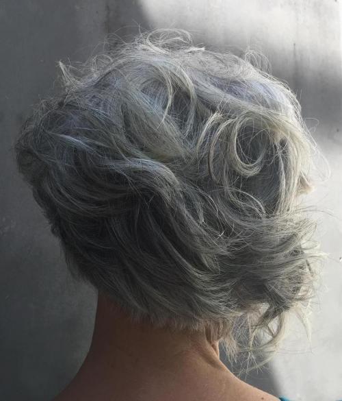 Curly Asymmetrical Gray Bob