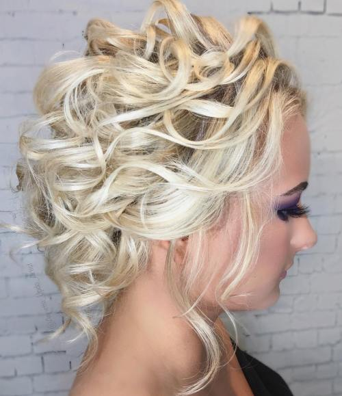 Blonde Curly Prom Updo