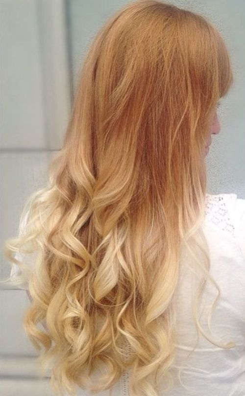 strawberry blonde into white blonde ombre for long hair