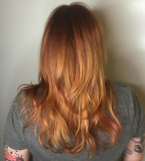 Dark Copper Hair With Strawberry Highlights