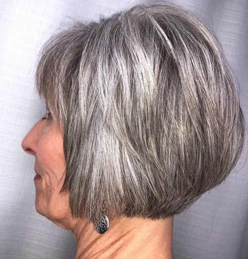 Short Gray Layered Bob With Bangs