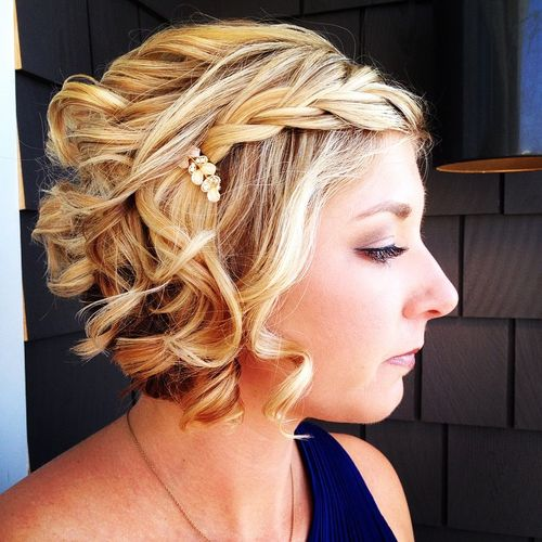 short hair evening styles 40 prom hairstyles for hair 6481 | 2 curly blonde bob with a braid for prom