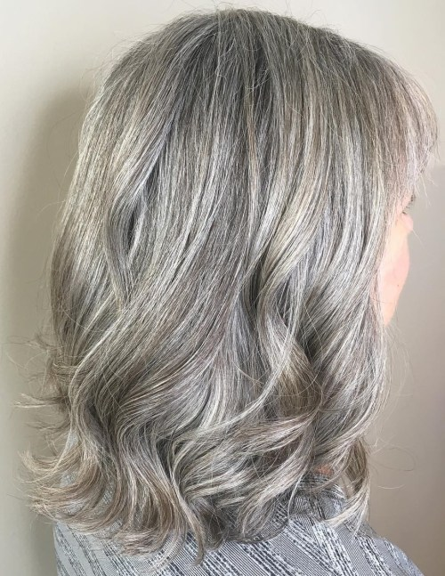 Medium Length Wavy Gray Hairstyle