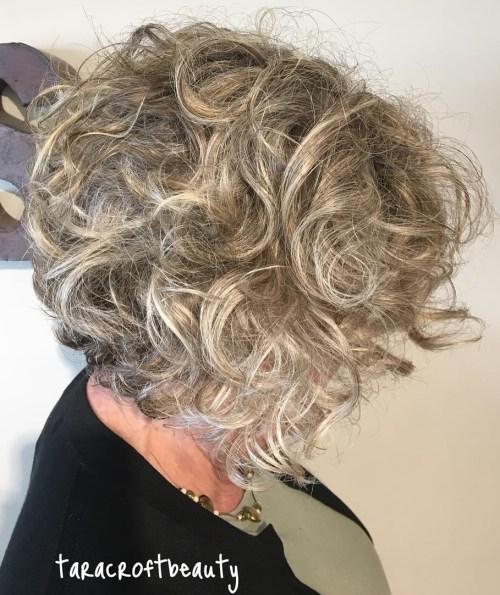 Curly Ash Bronde Bob