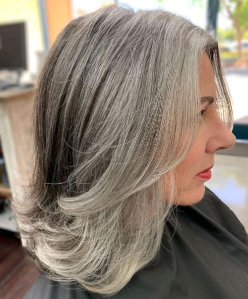 Medium Salt And Pepper Hairstyle With Layers