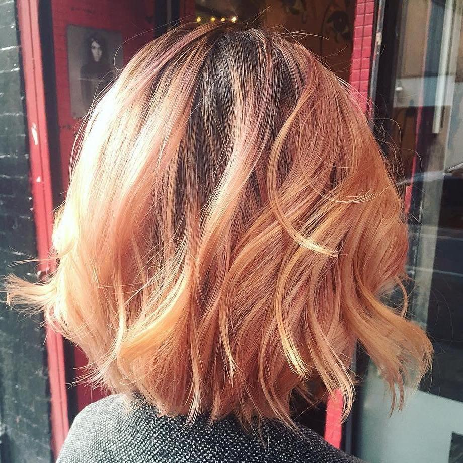 Shaggy Strawberry Blonde Lob