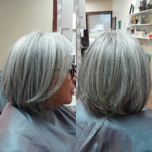 Layered Silver Bob Over 60