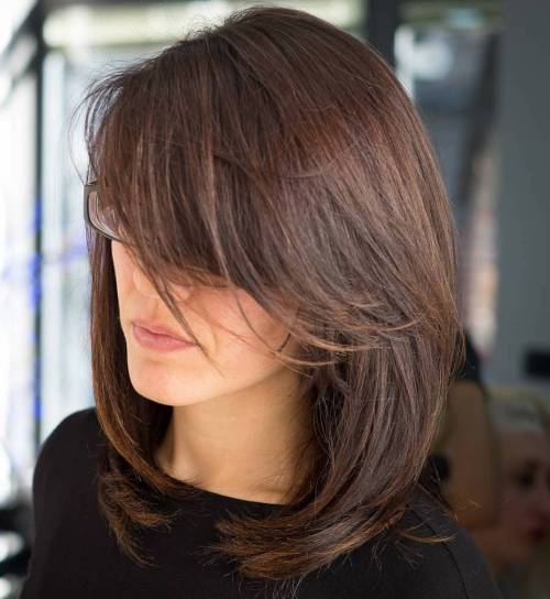Asian Straight Layered Hair With Side Bangs 40 Side-Swept B...