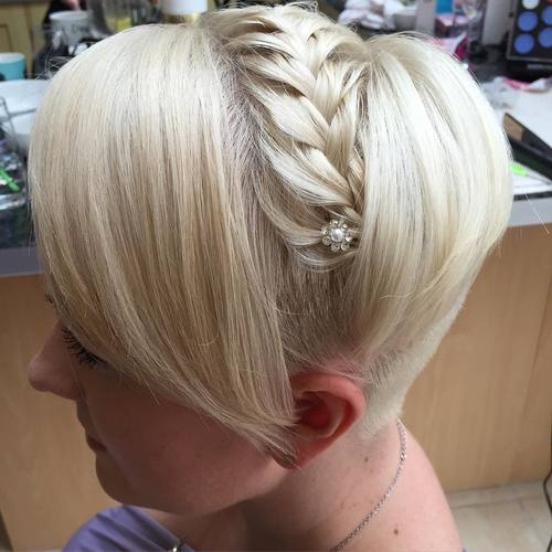 short braided undercut hairstyle for prom