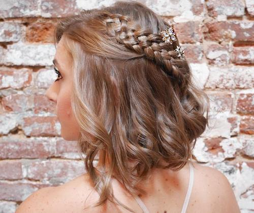 wavy bob with a four-strand braid for prom