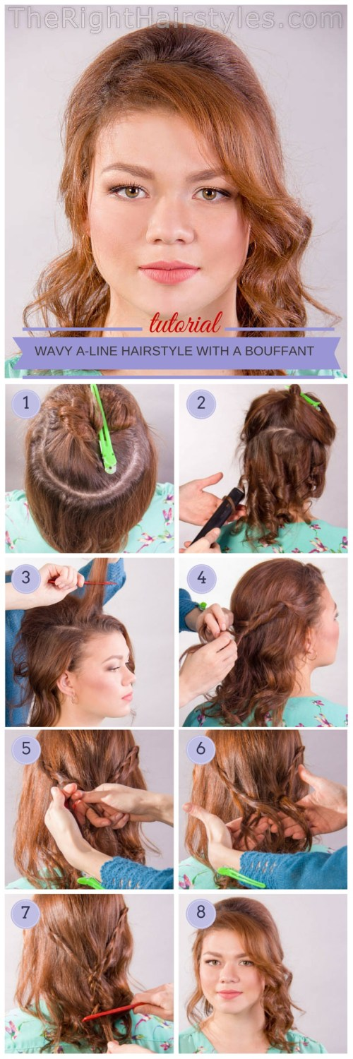 How To Wavy A Line Hairstyle With A Bouffant For Round Faces