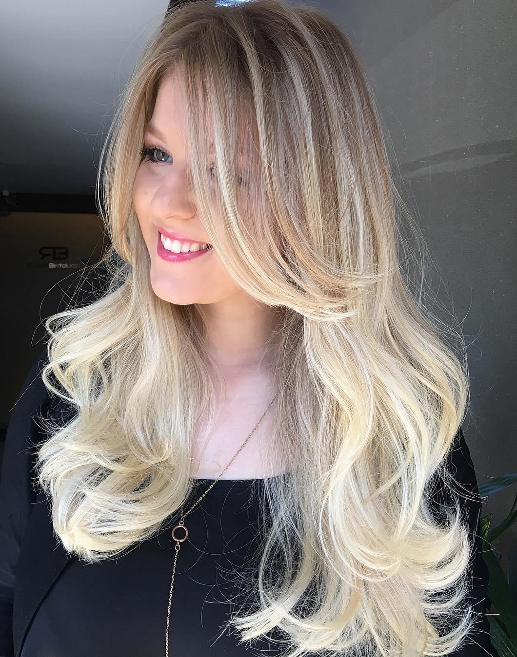 Amazing Long Layered Blonde Balayage Hair