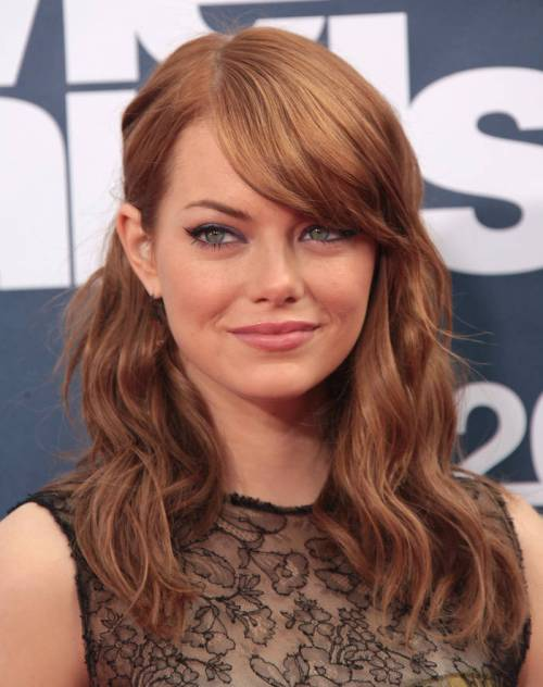 cinnamon red hair color wavy a-line hairstyle