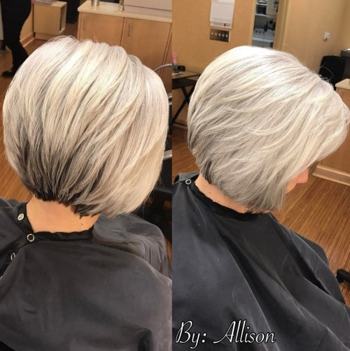 Gray Layered Bob Over 60