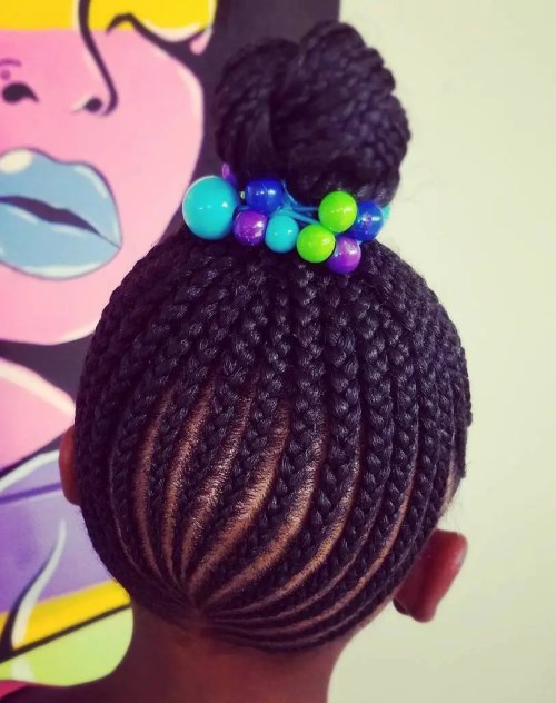 High Black Braided Bun