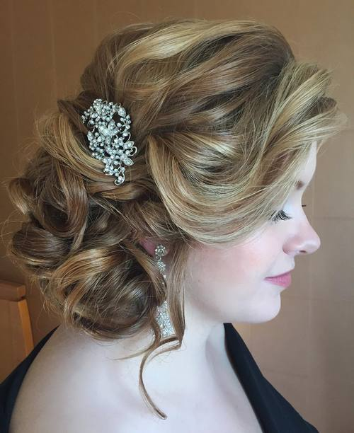 side updo for brides