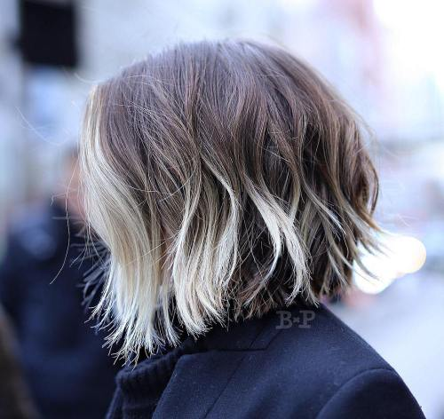 Choppy Bob With Blonde Balayage
