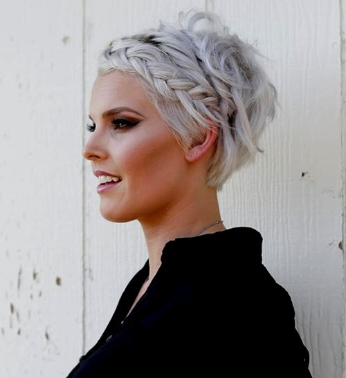messy short blonde hairstyle with braid