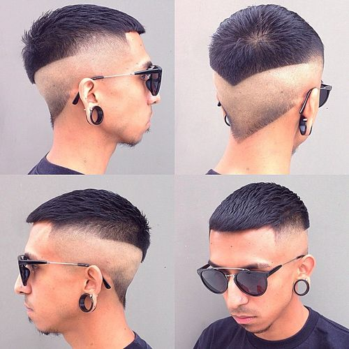 shaved sides and back creative haircut for guys