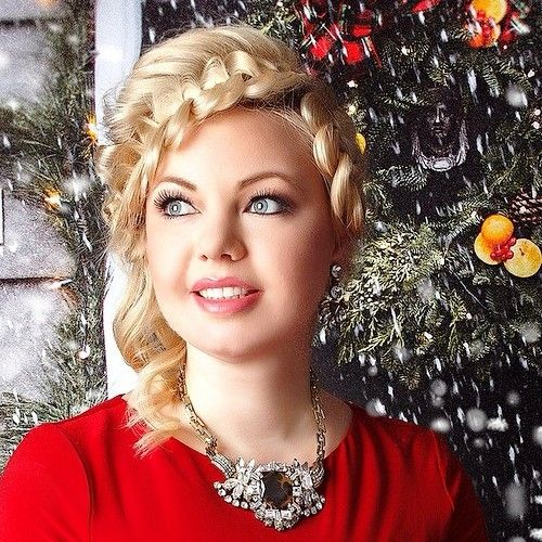 two braids Christmas updo with a bouffant