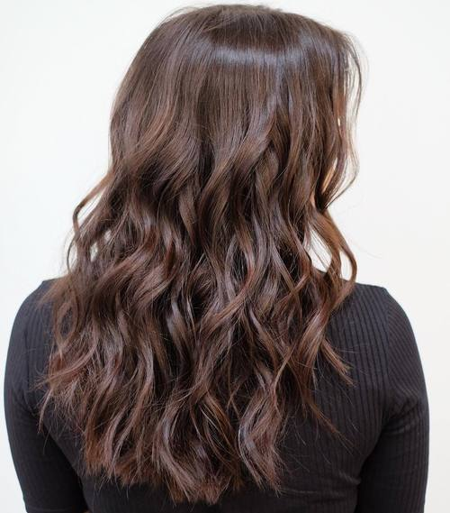 Dark Brown Wavy Choppy Haircut