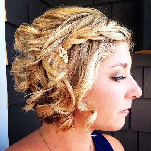 new year's eve short curly hairstyle with a braid