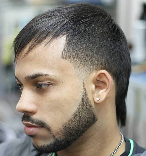 Asymmetrical Men's Haircut With Bangs