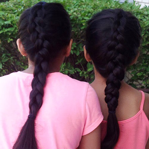 black French braid hairstyle for girls