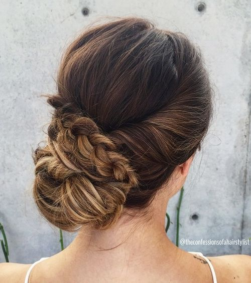 low bun bridal updo with a braid