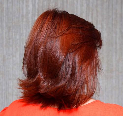 medium layered red haircut