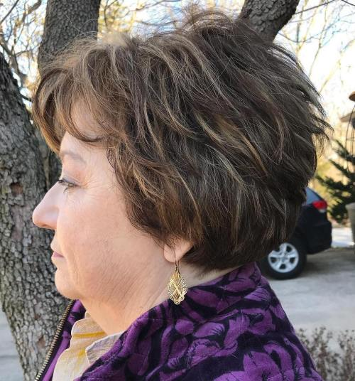 Short Layered Tousled Hairstyle Over 60