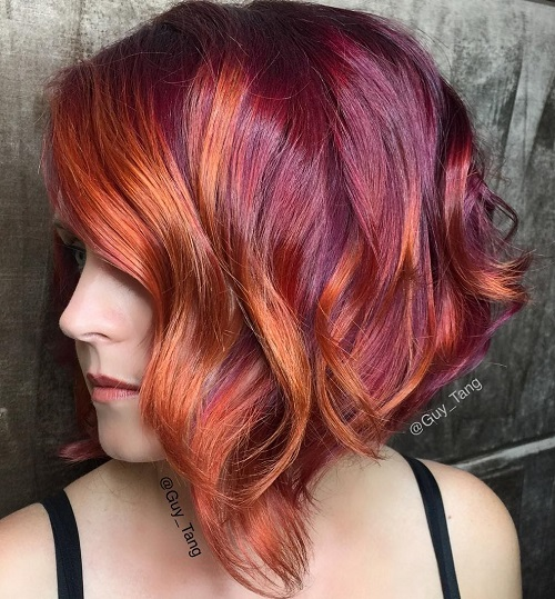 Burgundy Bob With Auburn Balayage