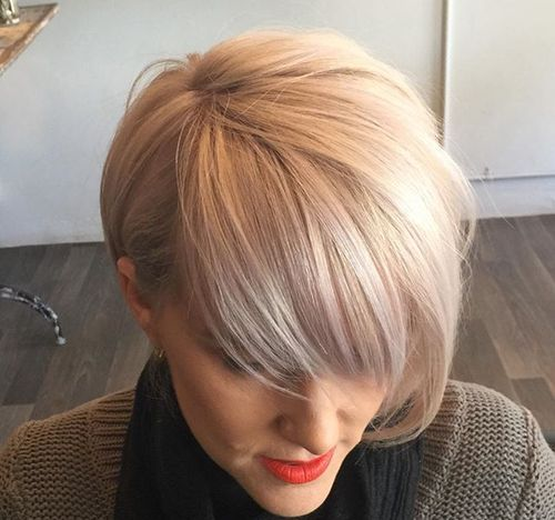 ash blonde bob with bangs