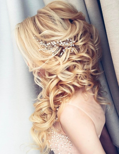 Long Cuely Wedding Half Updo