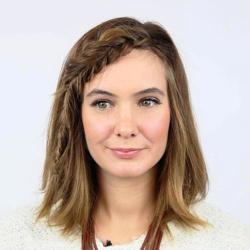 simple medium length hairstyle with braided bangs