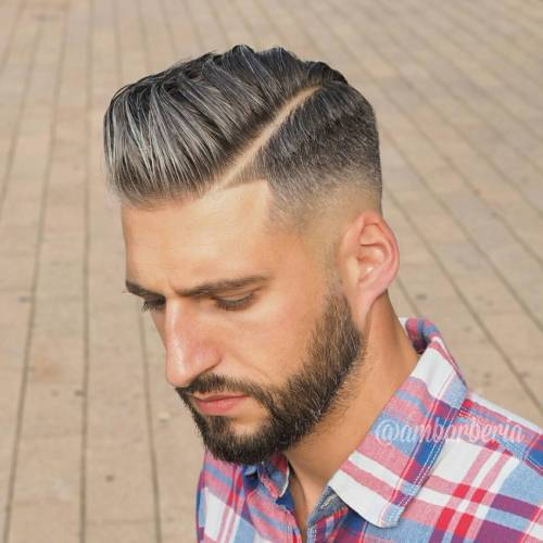Sleek Combover With Diagonal Part