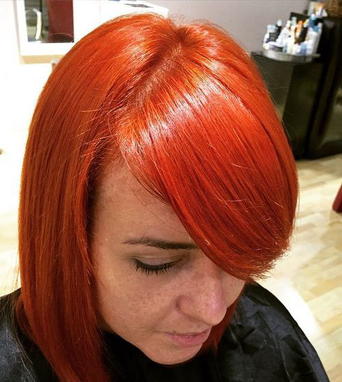 Bright Red Bob With Bangs