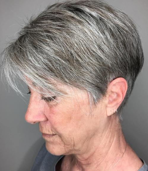 Gray Pixie Bob With Side Bangs