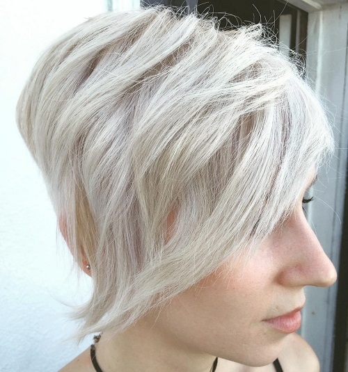 Short Blonde Asymmetrical Hairstyle