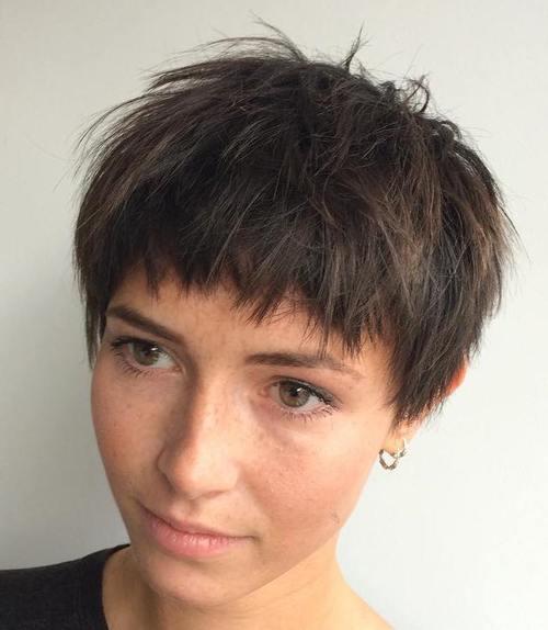 short choppy haircut for brown hair