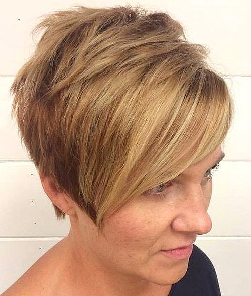short choppy honey blonde pixie bob