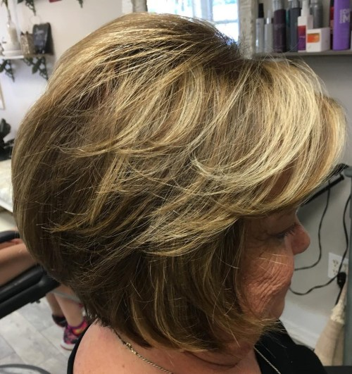 Feathered Bob Hairstyle For Women Over 60