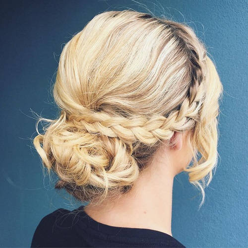 Messy Bun And Crown Braid For Medium Hair
