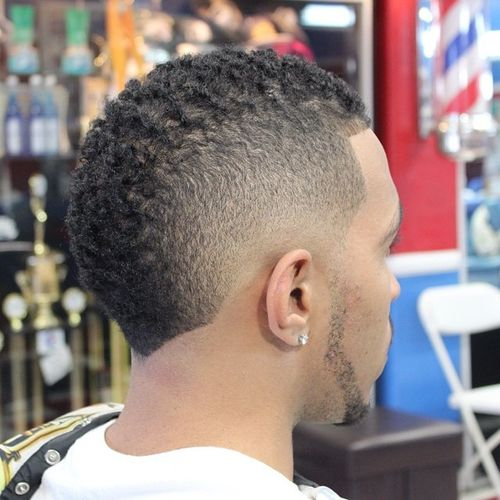 short black haircut with faded sides for men