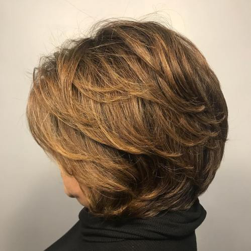 Short To Medium Layered Cut For Older Women